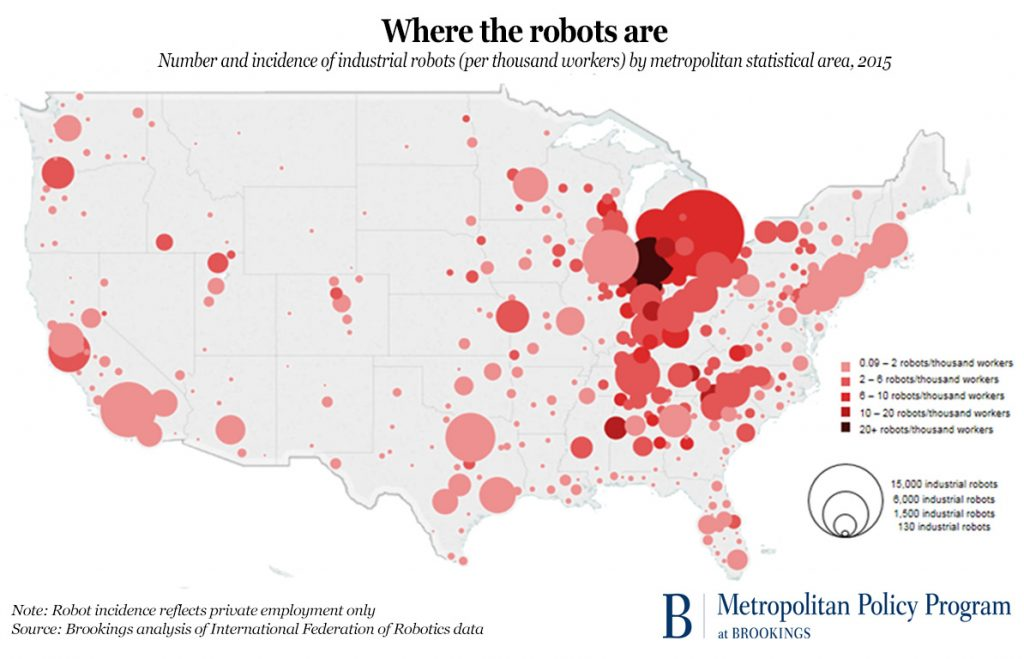 where robots are in the us
